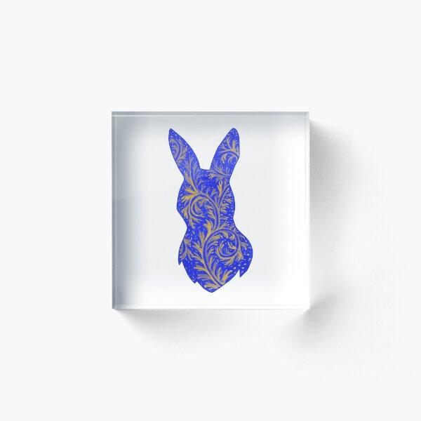 Medieval Manuscript Blue & Gold Bunny Silhouette Acrylic Block