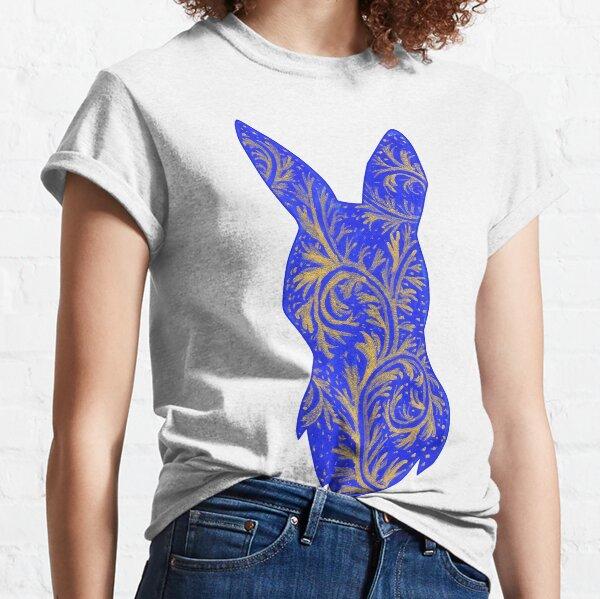 Medieval Manuscript Blue & Gold Bunny Silhouette Classic T-Shirt