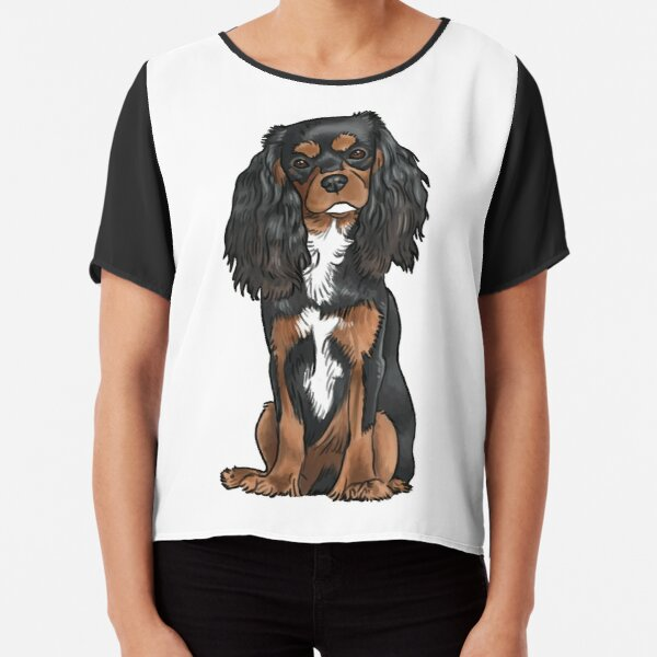 Cavalier King Charles Spaniel - Black and Tan Chiffon Top