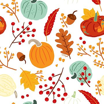 Autumn Pumpkins and Leaves Pattern by ArtVixen