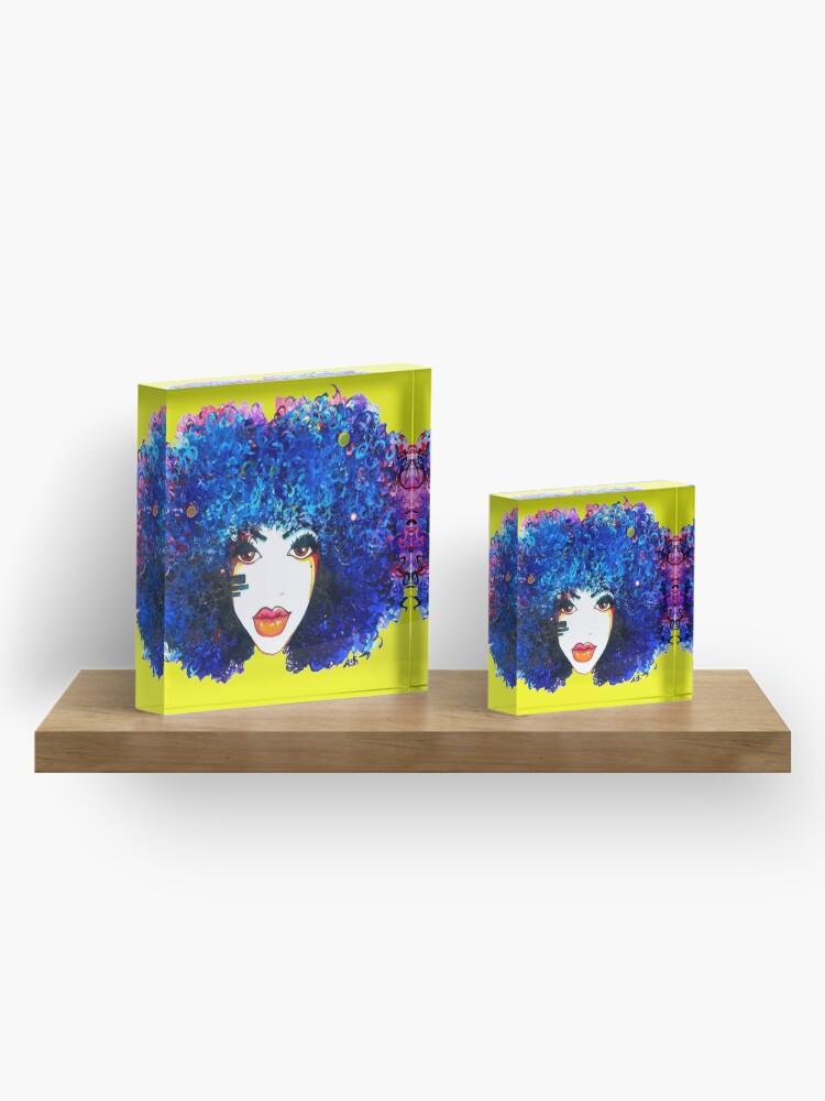 Alternative Ansicht von Blaues Afro-gelocktes Haar-Mädchen Brown mustert natürliche Haar-Königin Acrylblock