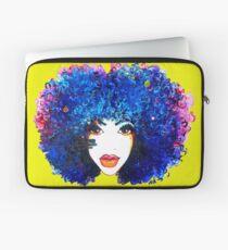 Blaues Afro-gelocktes Haar-Mädchen Brown mustert natürliche Haar-Königin Laptoptasche