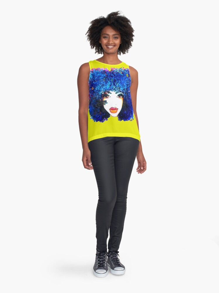 Alternate view of Blue Afro Curly Hair Girl Brown Eyes Natural Hair Queen  Sleeveless Top