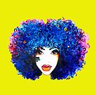 Blue Afro Curly Hair Girl Brown Eyes Natural Hair Queen  by EllenDaisyShop