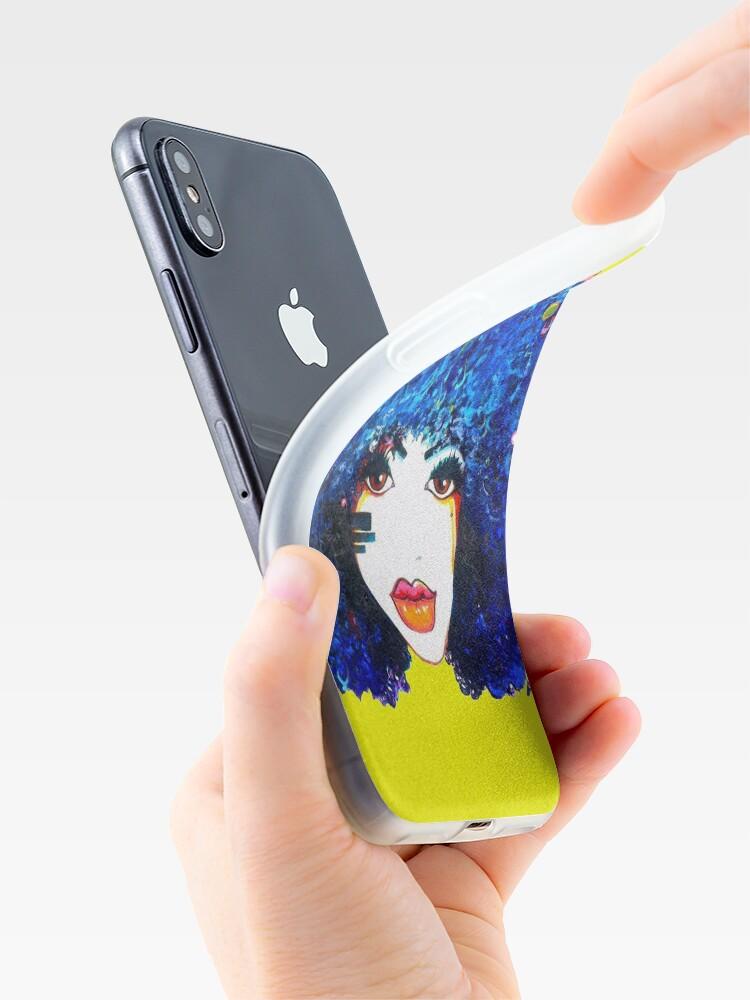 Alternative Ansicht von Blaues Afro-gelocktes Haar-Mädchen Brown mustert natürliche Haar-Königin iPhone-Hülle & Cover