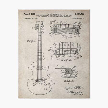 Gibson Guitar Patent - Les Paul Guitar Art - Antique Art Board Print