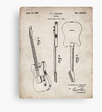 Lienzo Fender Guitar Patent - Fender Electric Guitar Art - Antique