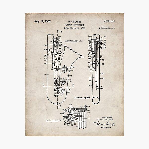 Selmer Saxophone Patent - Saxophone Art - Antique Photographic Print