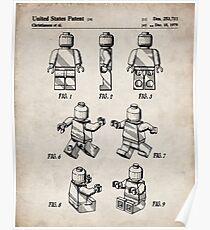 Lego Man Patent - Lego Bricks Art - Antique Poster
