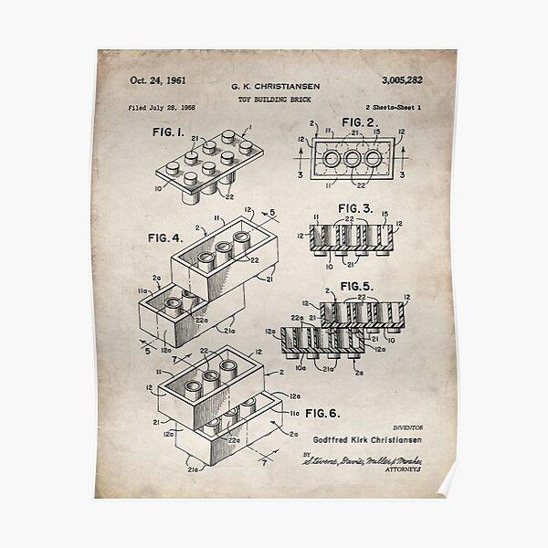 Lego Bricks Patent - Lego Art - Antique Poster