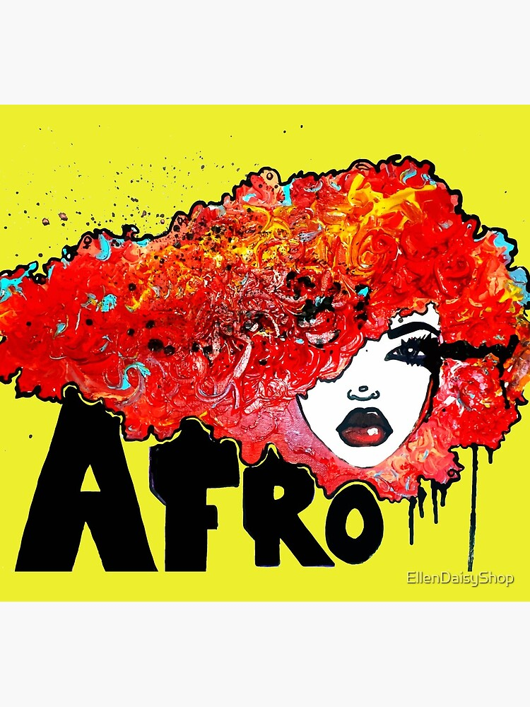 Afro Word Art Big Hair Typography Afro Hair  by EllenDaisyShop