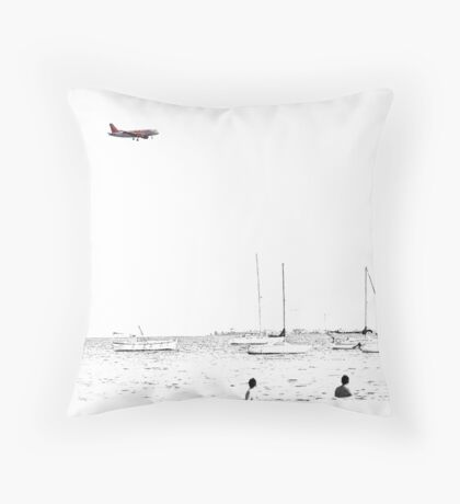 Landing on a bright and sunny day Throw Pillow