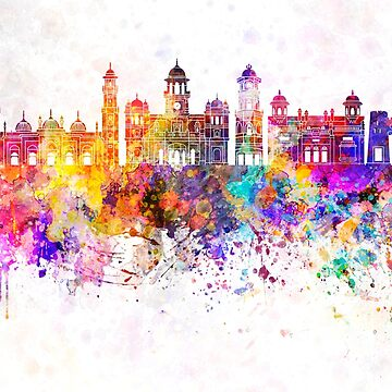 Peshawar  skyline in watercolor background by paulrommer