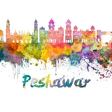 Peshawar skyline in watercolor splatters  by paulrommer