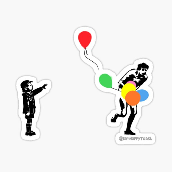 Boy with naked American man stealing balloons Sticker