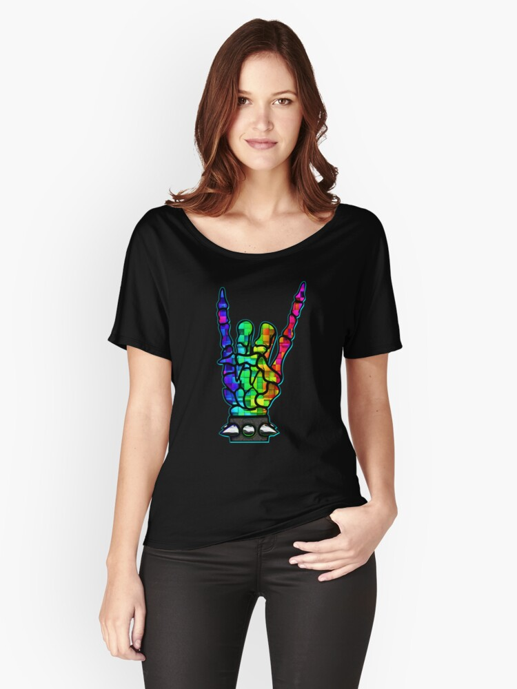 HEAVY METAL HAND SIGN - rainbow cubes Women's Relaxed Fit T-Shirt Front