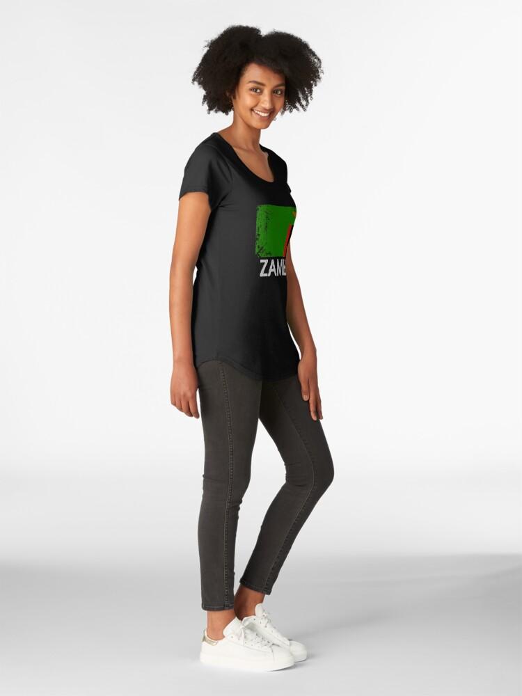 Alternative Ansicht von Sambian Flag Design | Weinlese gemacht im Sambia-Geschenk Premium Rundhals-Shirt