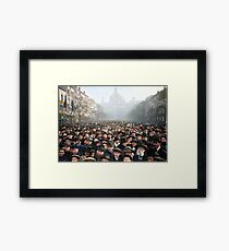 Antwerp, Belgium, a few hours after the Germans surrendered and an end of World War I. 11th November 1918 Framed Print