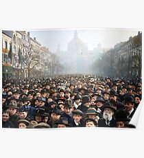 Antwerp, Belgium, a few hours after the Germans surrendered and an end of World War I. 11th November 1918 Poster