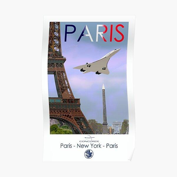 Concorde vintage style Paris - New York - Paris poster Poster