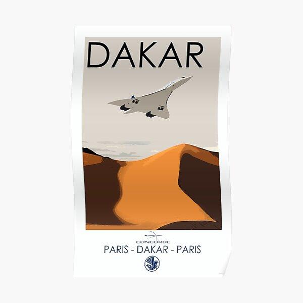 Paris - Dakar - affiche Concorde de style vintage - Air France Poster