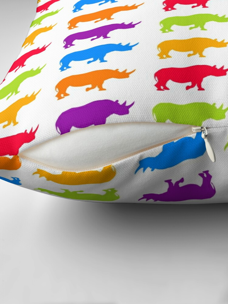 Alternate view of colorful rhino pattern Throw Pillow