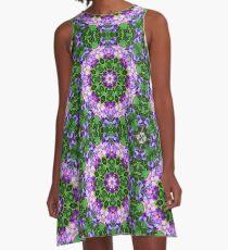 Sweet Pea Floral Purple Pink Mandala Kaleidoscope Zen Psychedelic Fragile Essence  A-Line Dress