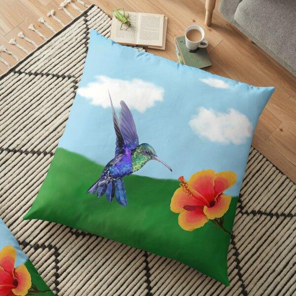 The very hungry hummingbird Floor Pillow