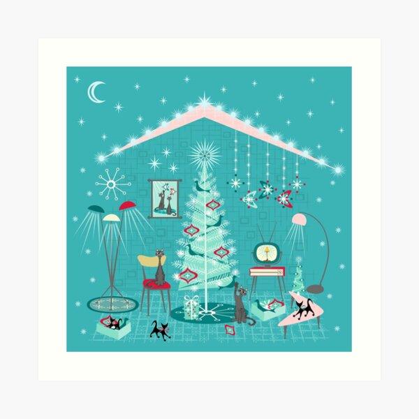 Retro Holiday Decorating Art Print