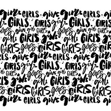 Girls handwritten words. Feminism pattern. by annakutukova