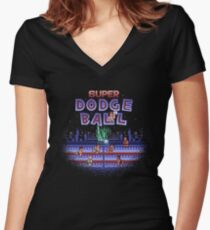 Super Ball Dodge Women's Fitted V-Neck T-Shirt