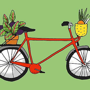 Red bicycle with a plant pot by CuteCartoon