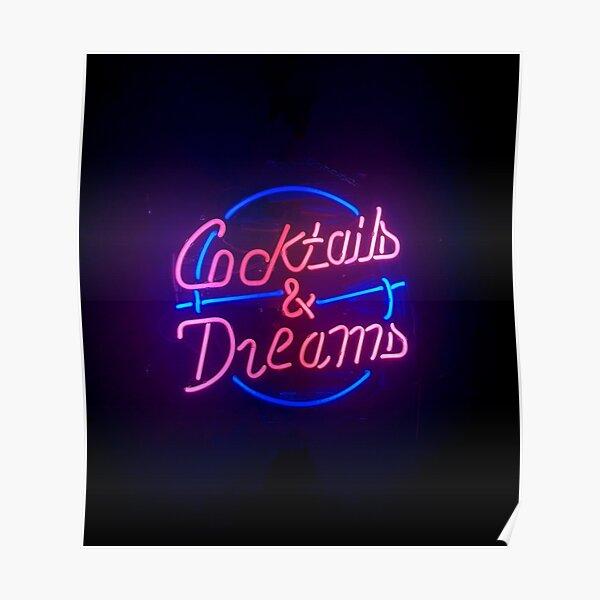 Cocktails et rêves néon Poster