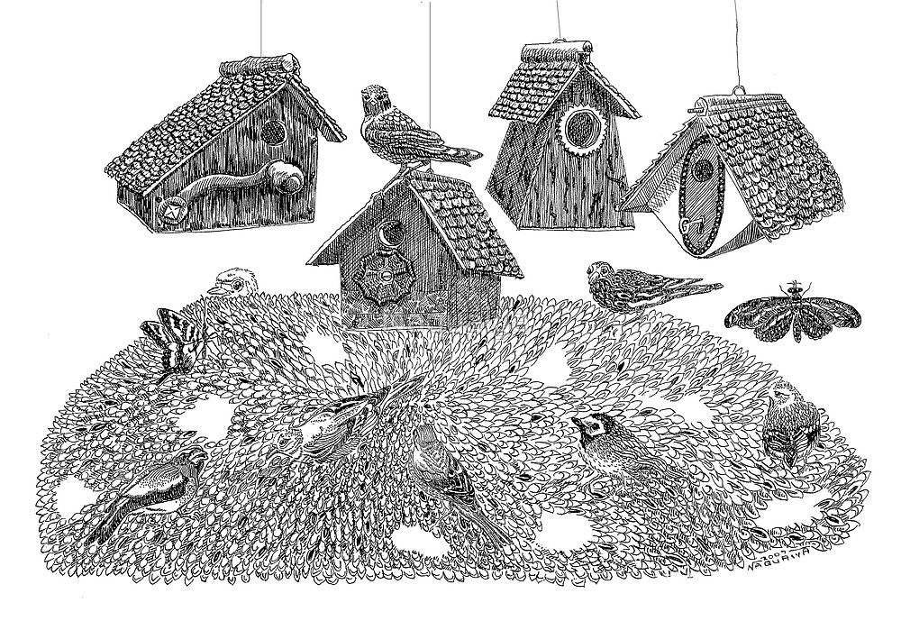 Birdhouses, pen and ink drawing, recycled materials by Naquaiya
