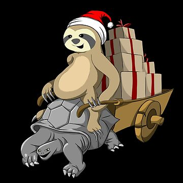 Sloth Santa Riding Giant Tortoise Turtle  by javaneka