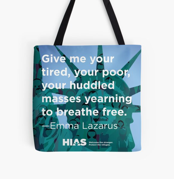 HIAS Statue of Liberty Tote with Emma Lazarus Quote All Over Print Tote Bag