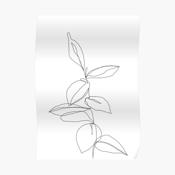 Plant one line illustration - Berry Poster