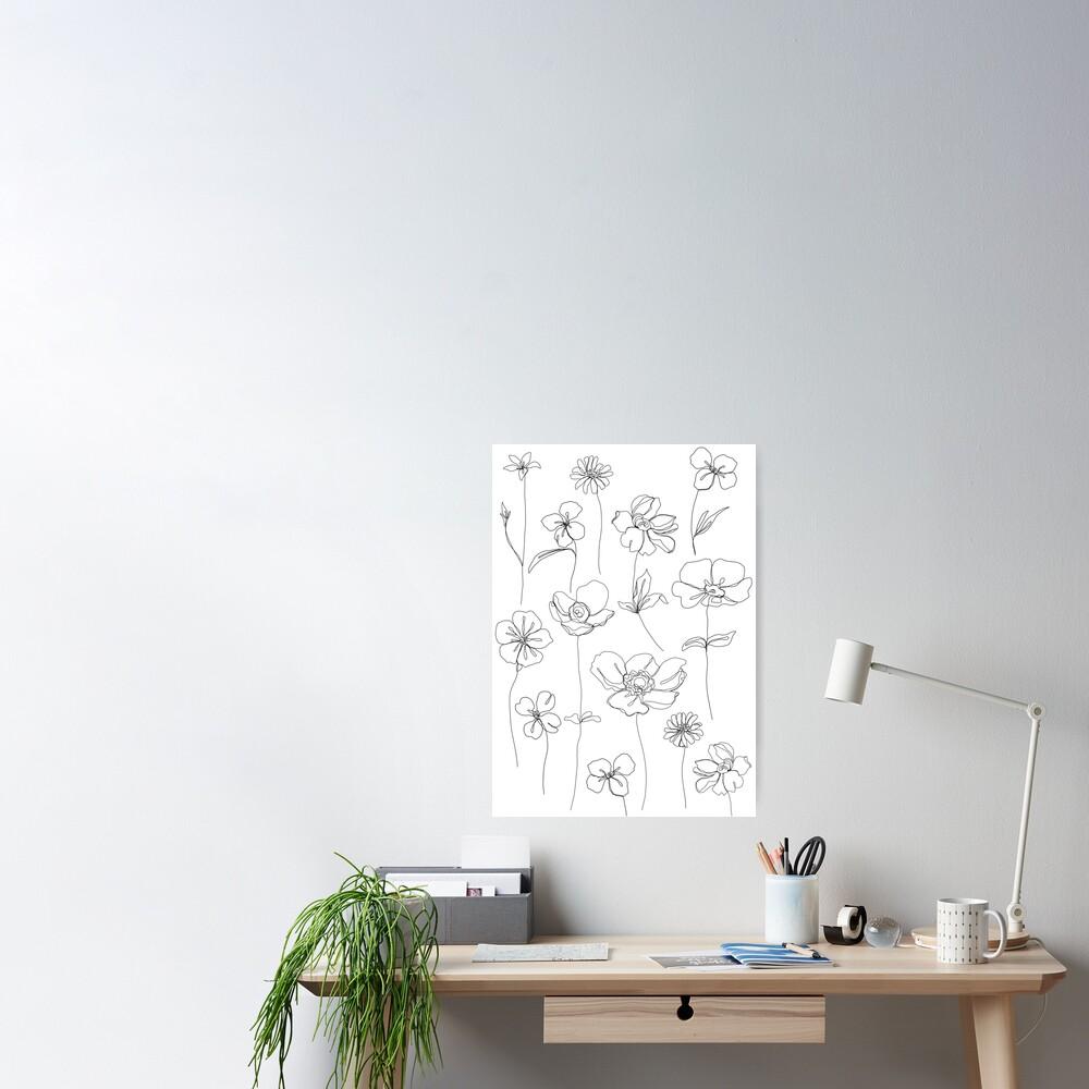 Botanical floral illustration - Botanicals White Poster