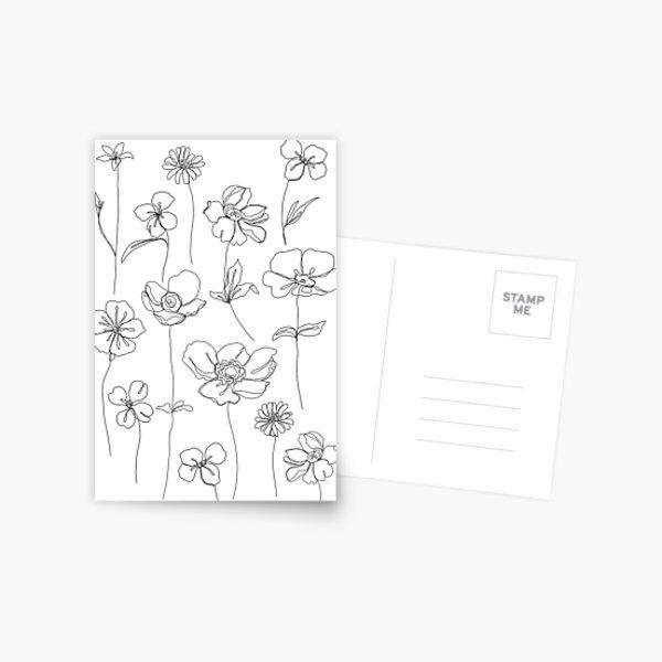 Botanische Blumenillustration - Botanicals White Postkarte