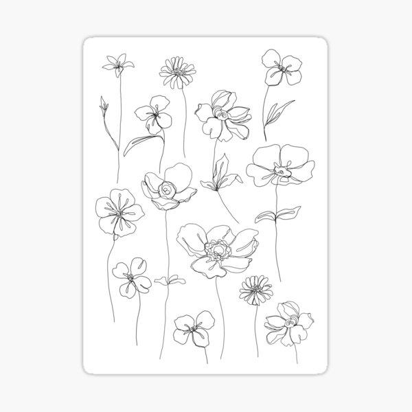 Botanical floral illustration - Botanicals White Sticker