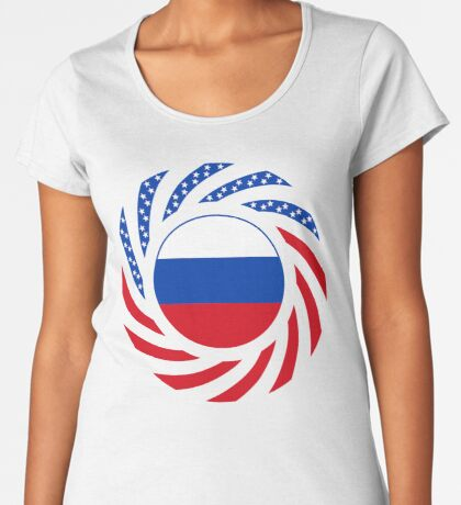 Russian American Multinational Patriot Flag Series Premium Scoop T-Shirt