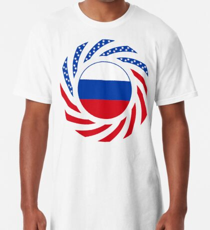 Russian American Multinational Patriot Flag Series Long T-Shirt