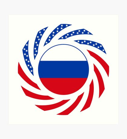 Russian American Multinational Patriot Flag Series Art Print
