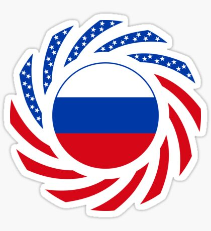 Russian American Multinational Patriot Flag Series Glossy Sticker