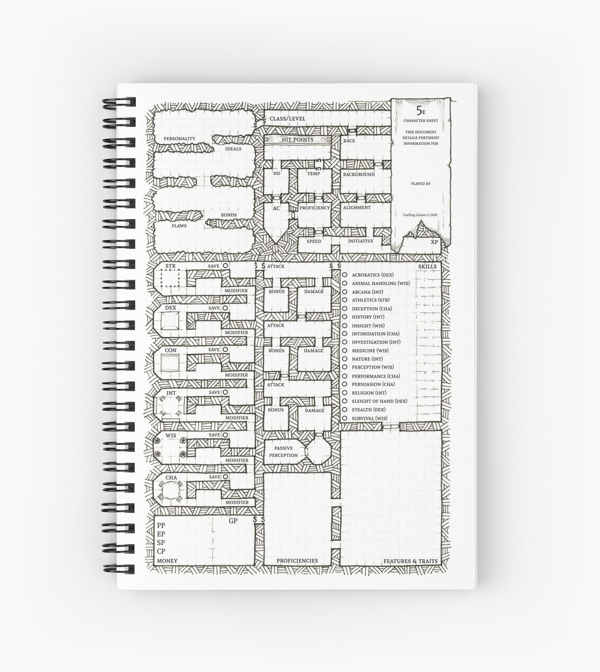'Dungeon Themed 5e Character Sheet Art' Spiral Notebook by Garblag