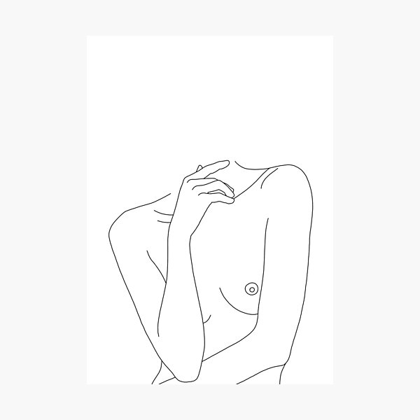 Nude figure line drawing - Cecily Photographic Print