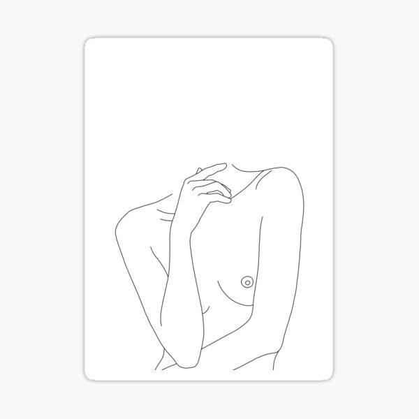 Nude figure line drawing - Cecily Sticker