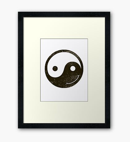 yin yang smiley Framed Print
