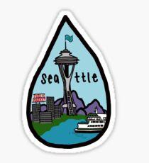 seattle rain drop Sticker