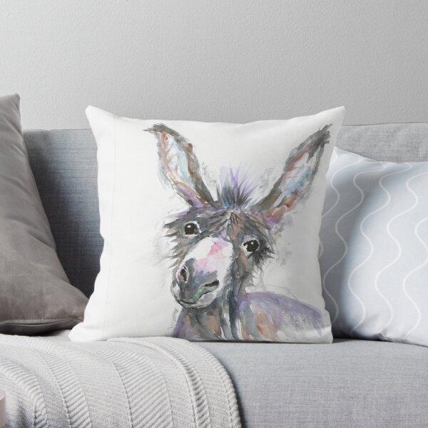 Donkey potrait Throw Pillow